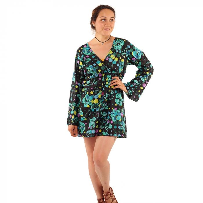 Tunica maneca lunga din bumbac - Floral multicolora 0