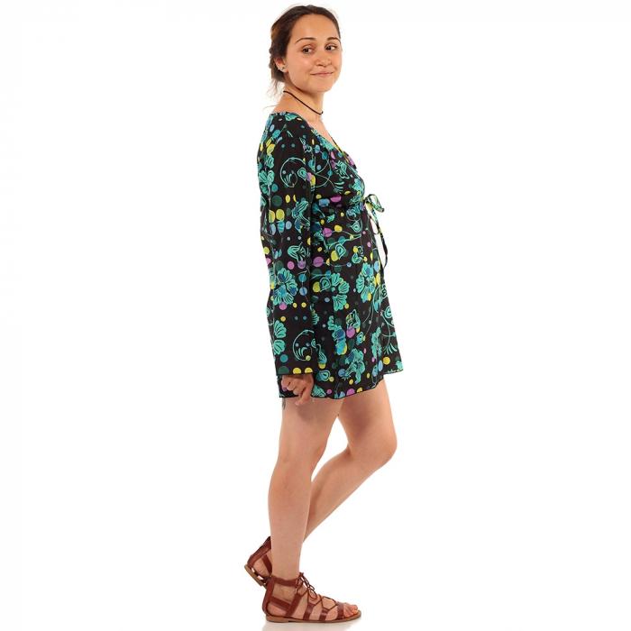 Tunica maneca lunga din bumbac - Floral multicolora 4