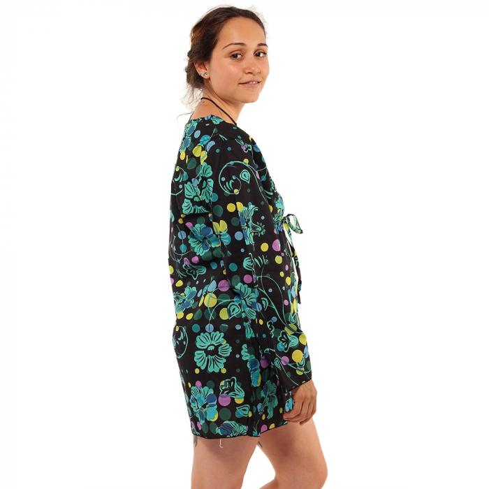 Tunica maneca lunga din bumbac - Floral multicolora 3