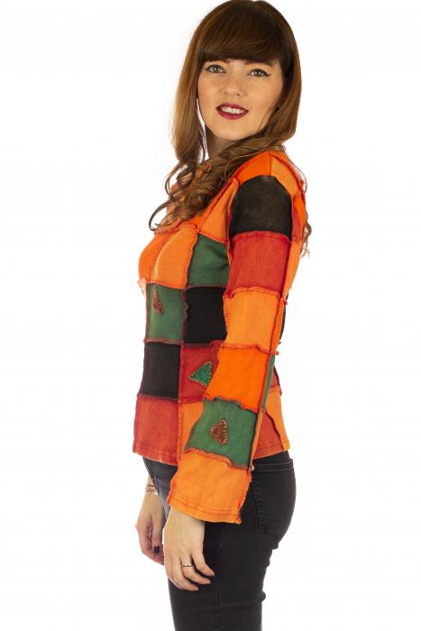 Bluza colorata cu patch-uri - Portocaliu 2