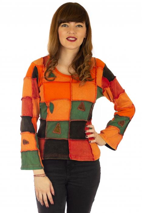 Bluza colorata cu patch-uri - Portocaliu 0