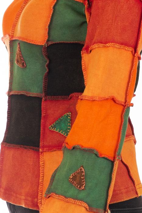 Bluza colorata cu patch-uri - Portocaliu 3