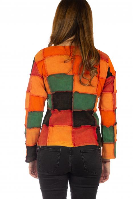 Bluza colorata cu patch-uri - Portocaliu 5