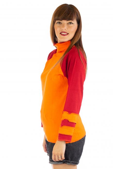 Bluza colorata cu guler - Portocaliu si rosu [1]