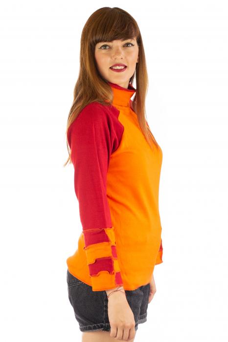 Bluza colorata cu guler - Portocaliu si rosu [2]
