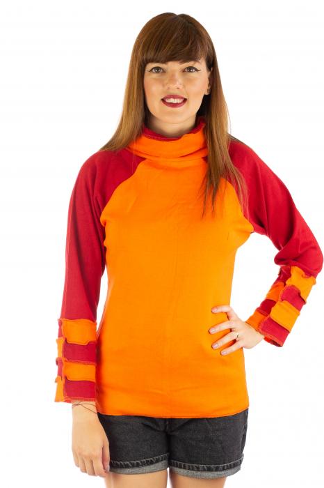 Bluza colorata cu guler - Portocaliu si rosu [0]