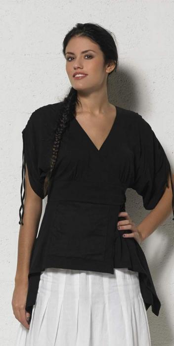 Bluza de vara petrecuta neagra  - TS13657 0