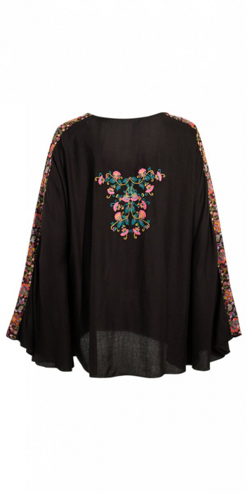 Bluza de vara cu print si maneci tip liliac - PO15704 1