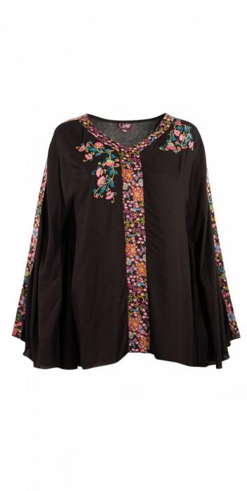 Bluza de vara cu print si maneci tip liliac - PO15704 0