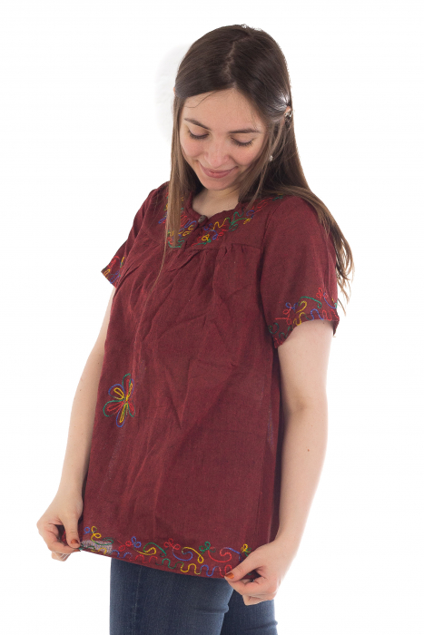 Bluza din bumbac cu broderie  - Color combo 1 2