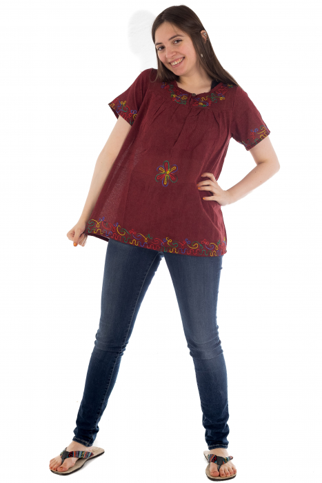 Bluza din bumbac cu broderie  - Color combo 1 1