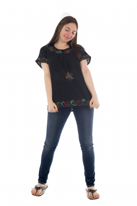 Bluza din bumbac cu broderie  - Color combo 6 1