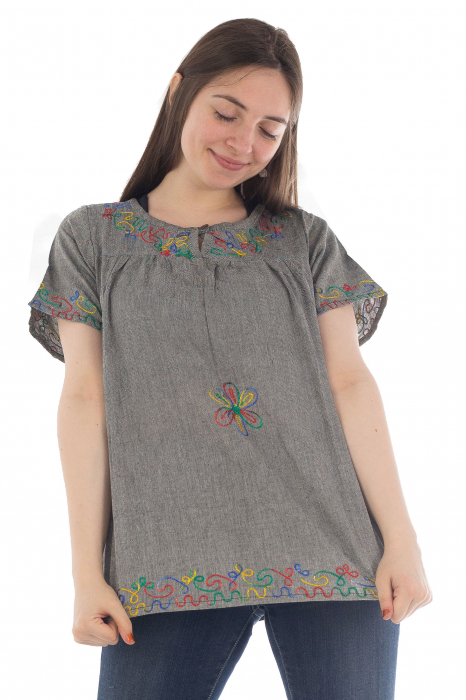 Bluza din bumbac cu broderie  - Color combo 8 0