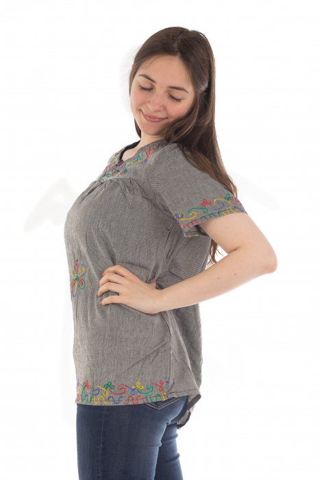 Bluza din bumbac cu broderie  - Color combo 8 1