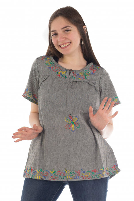 Bluza din bumbac cu broderie  - Color combo 8 2