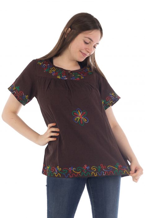 Bluza din bumbac cu broderie  - Color combo 9 1