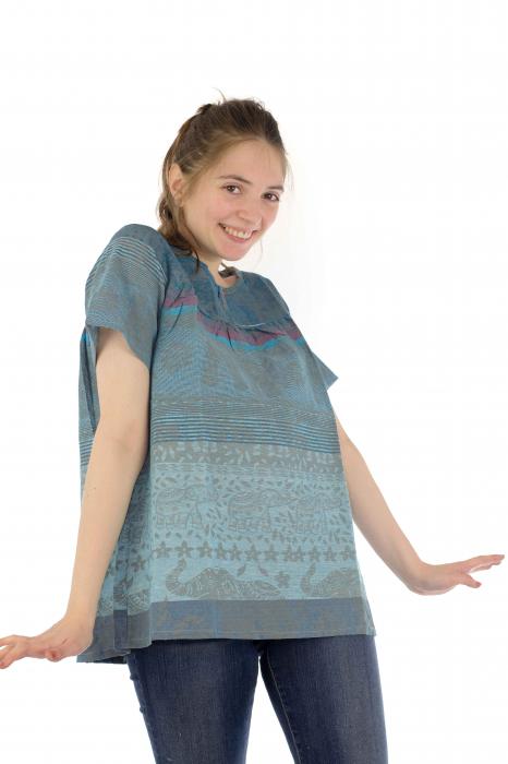 Bluza din bumbac cu maneca scurta  - Color combo 1 3