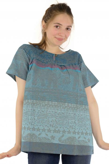Bluza din bumbac cu maneca scurta  - Color combo 1 0