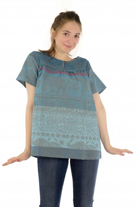 Bluza din bumbac cu maneca scurta  - Color combo 1 1