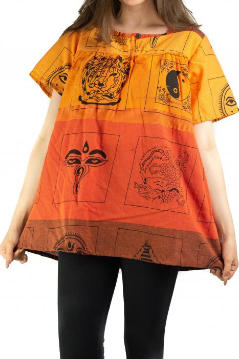 Bluza din bumbac cu maneca scurta  - Color combo 10 [0]