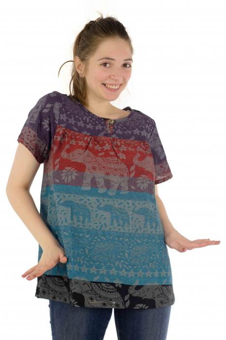 Bluza din bumbac cu maneca scurta  - Color combo 2 0