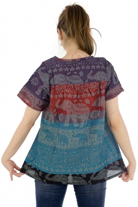 Bluza din bumbac cu maneca scurta  - Color combo 2 2