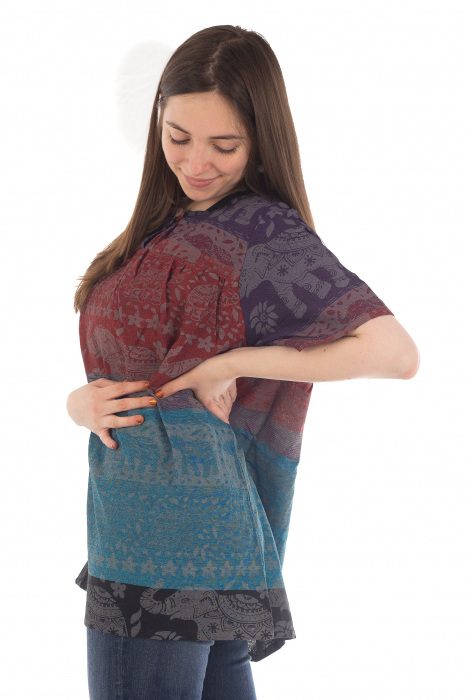 Bluza din bumbac cu maneca scurta  - Color combo 3 [1]