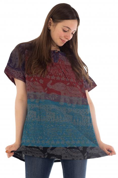 Bluza din bumbac cu maneca scurta  - Color combo 3 [2]