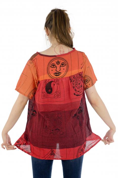 Bluza din bumbac cu maneca scurta  - Color combo 5 4