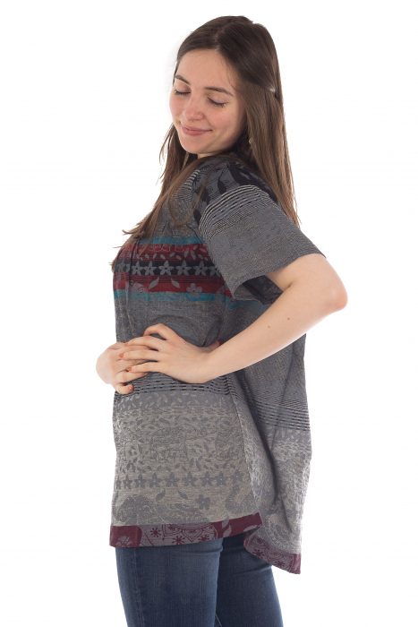 Bluza din bumbac cu maneca scurta  - Color combo 6 [2]