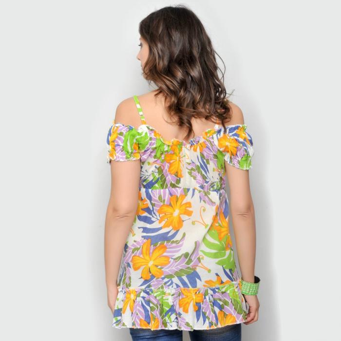 Bluza florala de vara cu umerii goi 1