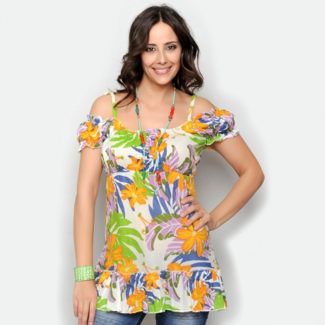 Bluza florala de vara cu umerii goi 0