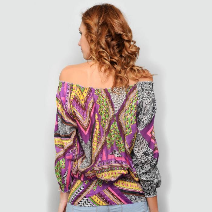 Bluza lejera cu imprimeu multicolorr 1