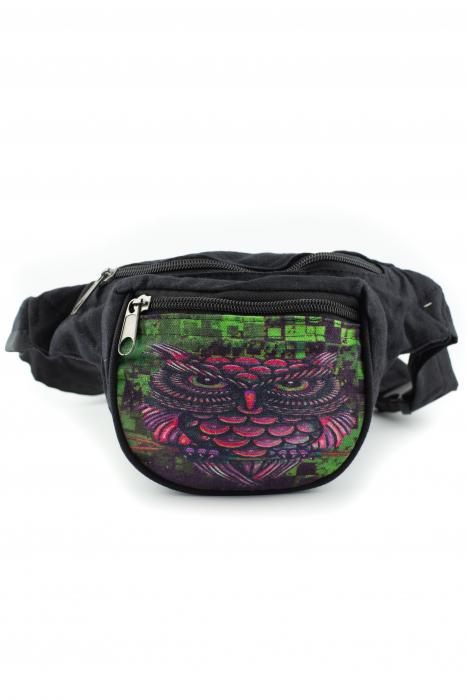 Borseta Tie Dye - Black Graffiti Owl 0