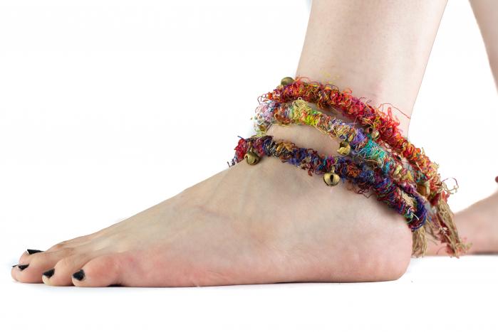 Bratara de picior multicolora cu clopotei - Hemp Anklet [4]