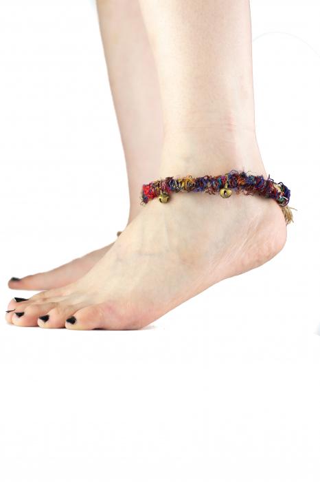 Bratara de picior multicolora cu clopotei - Hemp Anklet [0]