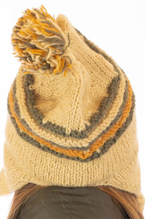 Caciula din lana cu urechi - Ivory 4