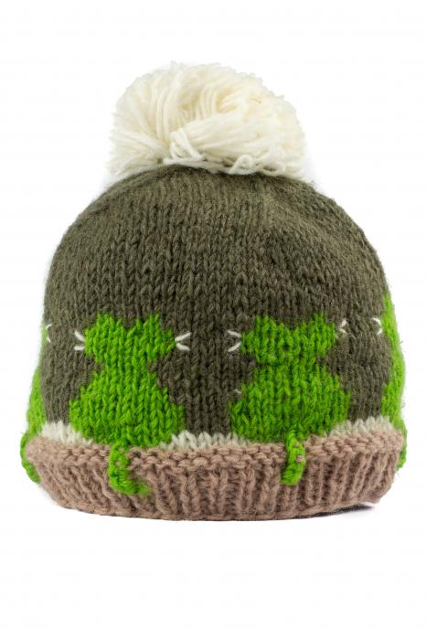 Caciula din lana copii Cats - Grey and Green 1