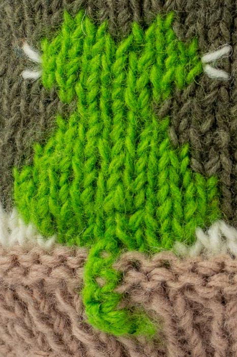 Caciula din lana copii Cats - Grey and Green 2