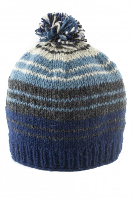 Caciula din lana cu ciucure - Blue Lines 0