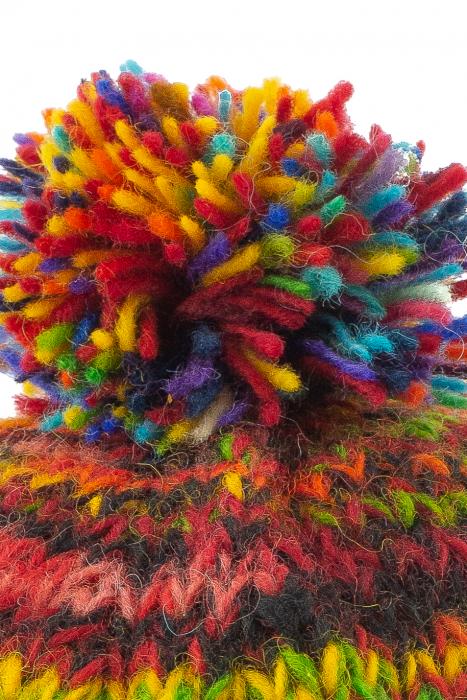 Caciula din lana cu ciucure - Blue Rainbow 4