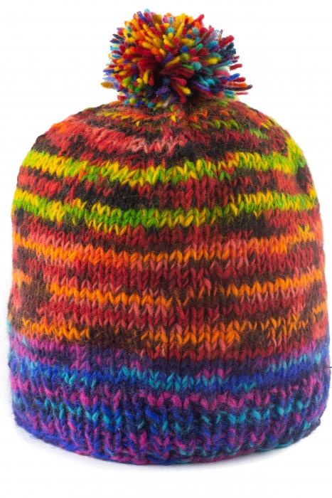 Caciula din lana cu ciucure - Blue Rainbow 0