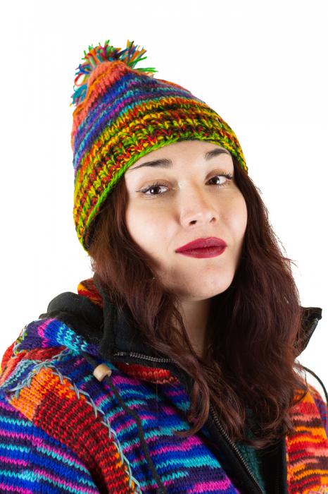 Caciula din lana cu ciucure - Rainbow_2 2