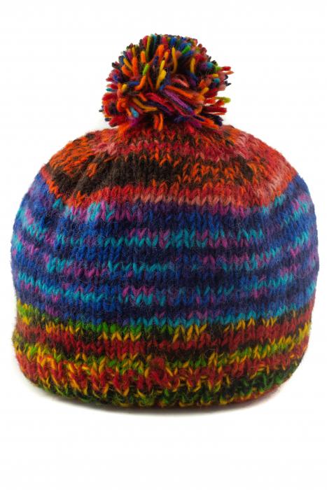 Caciula din lana cu ciucure - Rainbow_2 0