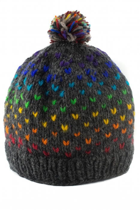 Caciula din lana cu ciucure - Rainbow Dots 0