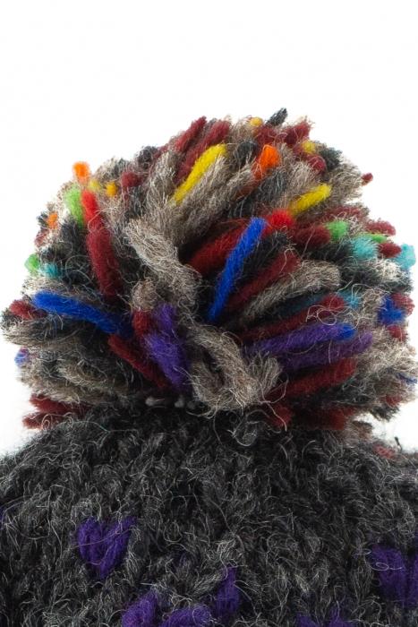 Caciula din lana cu ciucure - Rainbow Dots 3