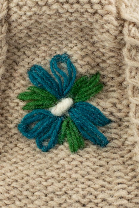 Caciula din lana copii Flowers - Bej 2