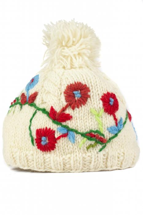 Caciula din lana Flowers - White 0