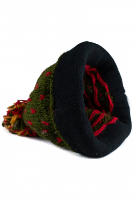 Caciula din lana Green - Red bits 4