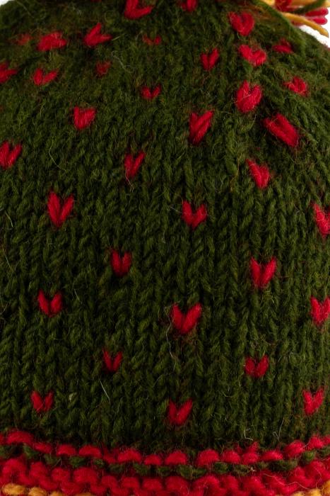 Caciula din lana Green - Red bits 2